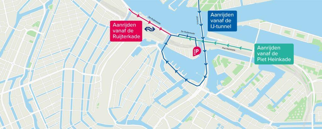 route naar Parking Centrum Oosterdok